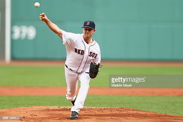 Steven Wright of the Boston Red Sox pitches against the Tampa Bay Rays during the first inning at Fenway Park on August 31 2016 in Boston...