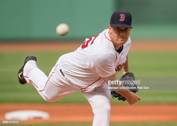 Steven Wright of the Boston Red Sox pitches against the Toronto Blue Jays in the first inning on June 4 2016 at Fenway Park in Boston Massachusetts