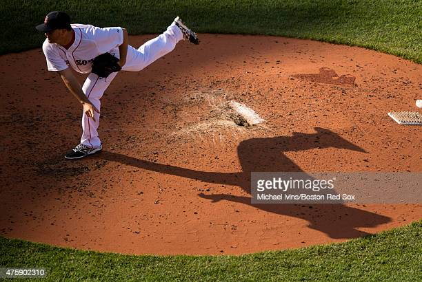 Steven Wright of the Boston Red Sox pitches during the sixth inning against the Minnesota Twins at Fenway Park in Boston Massachusetts on June 4 2015