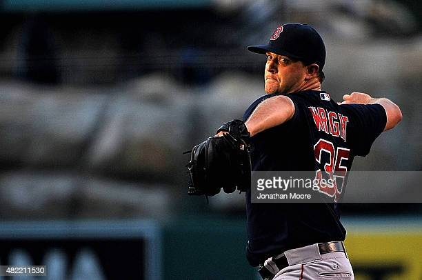 Steven Wright of the Boston Red Sox pitches to the Los Angeles Angels of Anaheim during game two of a double header at Angel Stadium of Anaheim on...