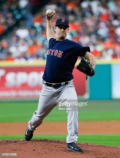 Steven Wright of the Boston Red Sox throws in the first inning against the Houston Astros at Minute Maid Park on April 22 2016 in Houston Texas
