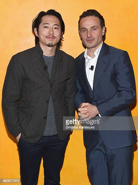 Steven Yeun and Andrew Lincoln attend TimesTalks The Walking Dead at TheTimesCenter on February 2 2015 in New York City