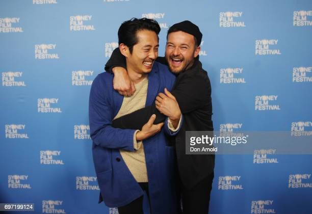 Steven Yeun and Daniel Henshall arrive ahead of the Sydney Film Festival Closing Night Gala and Australian premiere of Okja at State Theatre on June...