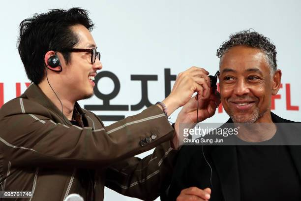 Steven Yeun and Giancarlo Espositoattend the official press conference after Korea Red Carpet Premiere of Netflix release 'Okja' at the Four Seasons...
