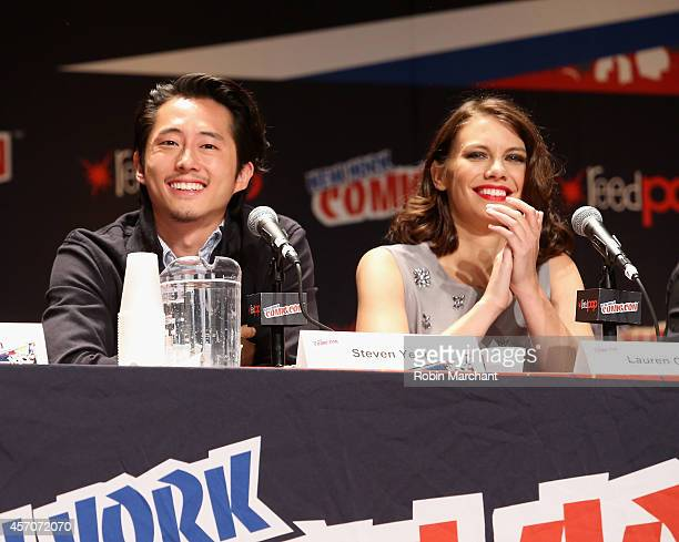 Steven Yeun and Lauren Cohan speak at 'The Walking Dead' NY Comic Con Panel on October 11 2014 in New York City