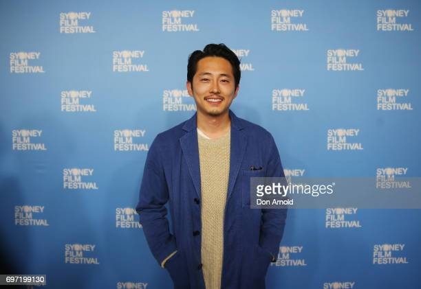 Steven Yeun arrives ahead of the Sydney Film Festival Closing Night Gala and Australian premiere of Okja at State Theatre on June 18 2017 in Sydney...