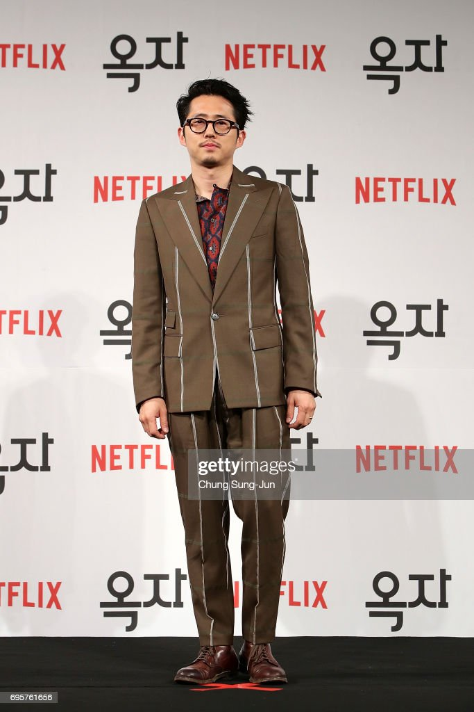 Steven Yeun attends the official press conference after Korea Red Carpet Premiere of Netflix release 'Okja' at the Four Seasons on June 14, 2017 in Seoul, South Korea.