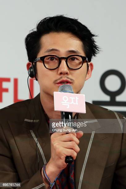 Steven Yeun attends the official press conference after Korea Red Carpet Premiere of Netflix release 'Okja' at the Four Seasons on June 14 2017 in...