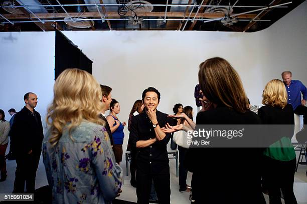 Steven Yeun is photographed behind the scenes of The Hollywood Reporter's Emmy Supporting Actor Portrait shoot at Siren Orange Studios for The...