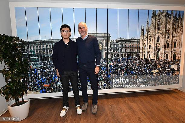 Steven Zhang and FC Internazionale head coach Stefano Pioli pose for a photo after the visits Brook Brothers Store on November 11 2016 in Milan Italy