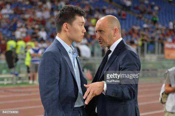 Steven Zhang and Piero Ausilio during the Italian Serie A football match between AS Roma and FC Inter at the Olympic Stadium in Rome on august 26 2017