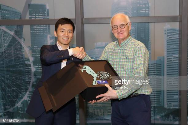 Steven Zhang Kangyang board member FC Internazionale exchanges gifts with Bruce Buck chairman Chelsea FC at the Corporate Hospitality before the...