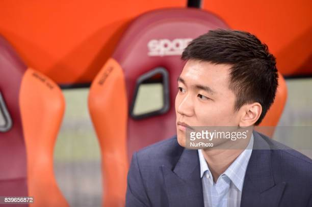 Steven Zhang the son of Zhang Jindong owner of Internazionale during the Serie A match between Roma and Internazionale at Stadio Olimpico Rome Italy...