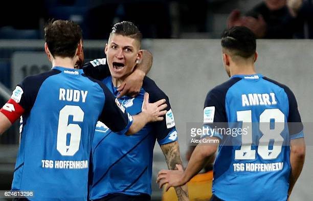 Steven Zuber of Hamburg celebrate with his team mates after he scores the 2nd goal during the Bundesliga match between TSG 1899 Hoffenheim and...