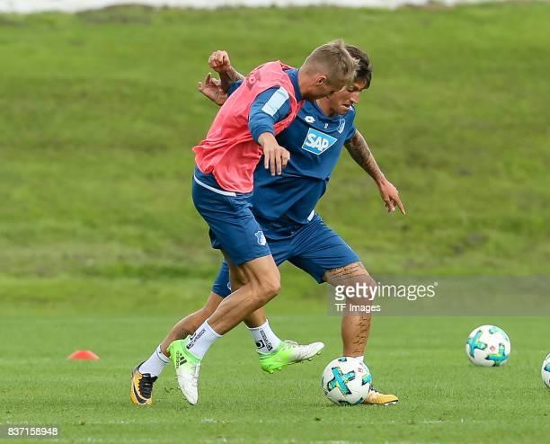 Steven Zuber of Hoffenheim battle for the ball during the Training Camp of TSG 1899 Hoffenheim on July 16 2017 in Windischgarsten Austria