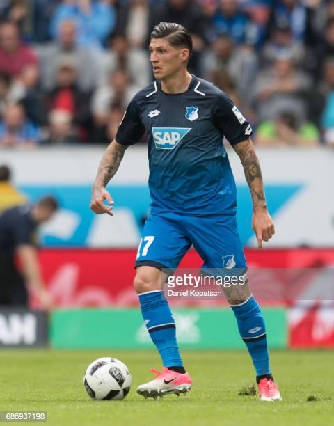 Steven Zuber of Hoffenheim controls the ball during the Bundesliga match between TSG 1899 Hoffenheim and FC Augsburg at Wirsol RheinNeckarArena on...