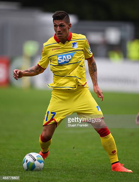 Steven Zuber of Hoffenheim in action during the DFB Pokal first round match between USC Paloma and 1899 Hoffenheim on August 17 2014 in Hamburg...