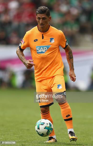 Steven Zuber of Hoffenheim runs with the ball during the Telekom Cup 2017 3rd place match between Borussia Moenchengladbach and TSG Hoffenheim at...