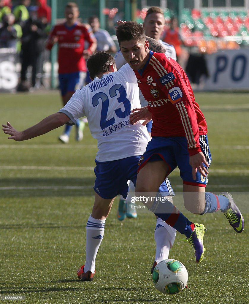 Steven Zuber of PFC CSKA Moscow is challenged by Luke Wilkshire of FC Dinamo Moscow during the Russian Premier League match between PFC CSKA Moscow and FC Dinamo Moscow on October 6, 2013 in Moscow, Russia. (Photo b /Epsilon/Getty Images)Luke Wilkshire;Steven Zuber