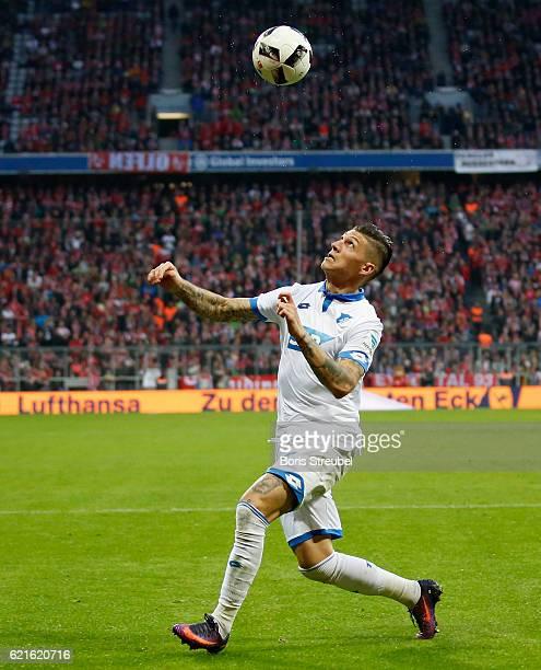 Steven Zuber of TSG Hoffenheim controls the ball during the Bundesliga match between Bayern Muenchen and TSG 1899 Hoffenheim at Allianz Arena on...