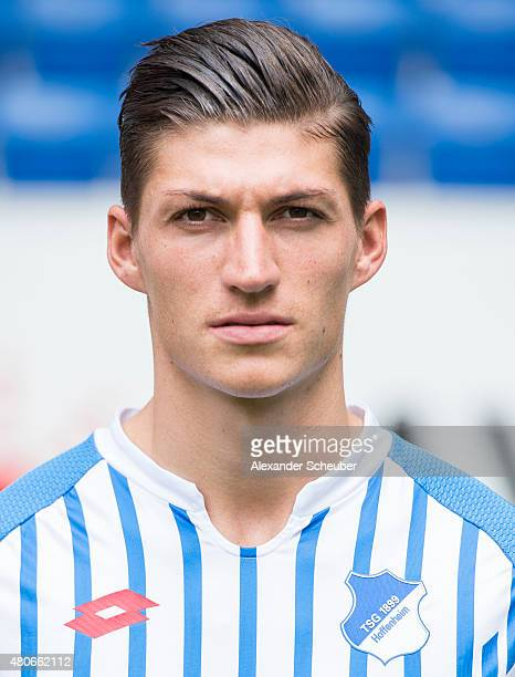 Steven Zuber poses during the team presentation of 1899 Hoffenheim at Wirsol RheinNeckarArena on July 14 2015 in Sinsheim Germany