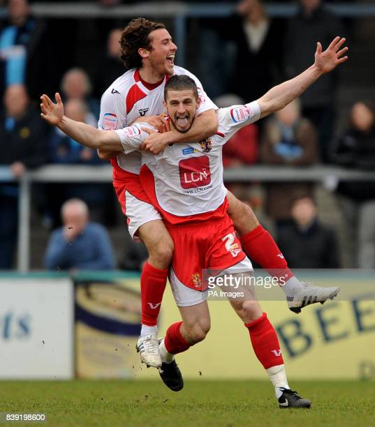 Stevenage Borough's John Mousinho celebrates his goal against Wycombe Wanderers' with Lawrie Wilso during the npower Football League Two match at...