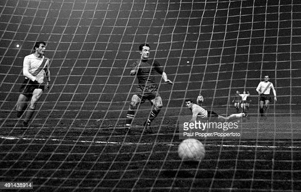 Stevie Chalmers scores Celtic's first goal during their European Cup QuarterFinal 2nd leg match against Vojvodina Novi Sad from Yugoslavia at Celtic...