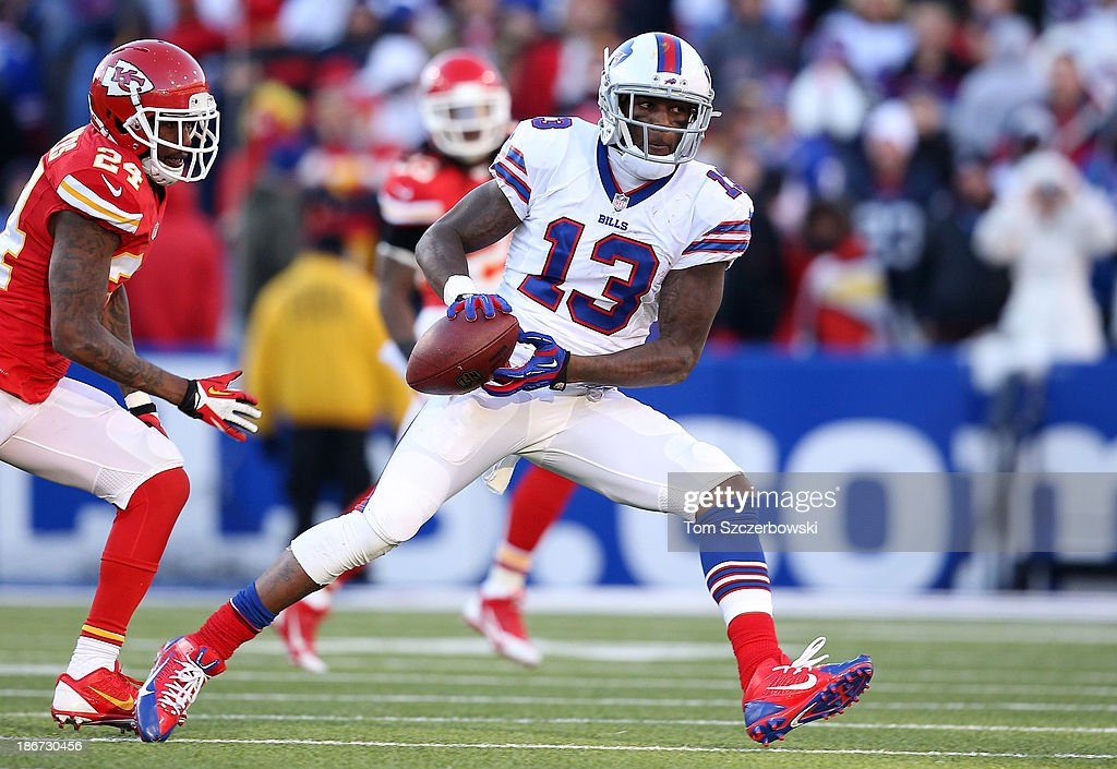 Stevie Johnson #13 of the Buffalo Bills catches a pass during NFL game action against the Kansas City Chiefs at Ralph Wilson Stadium on November 3, 2013 in Orchard Park, New York.
