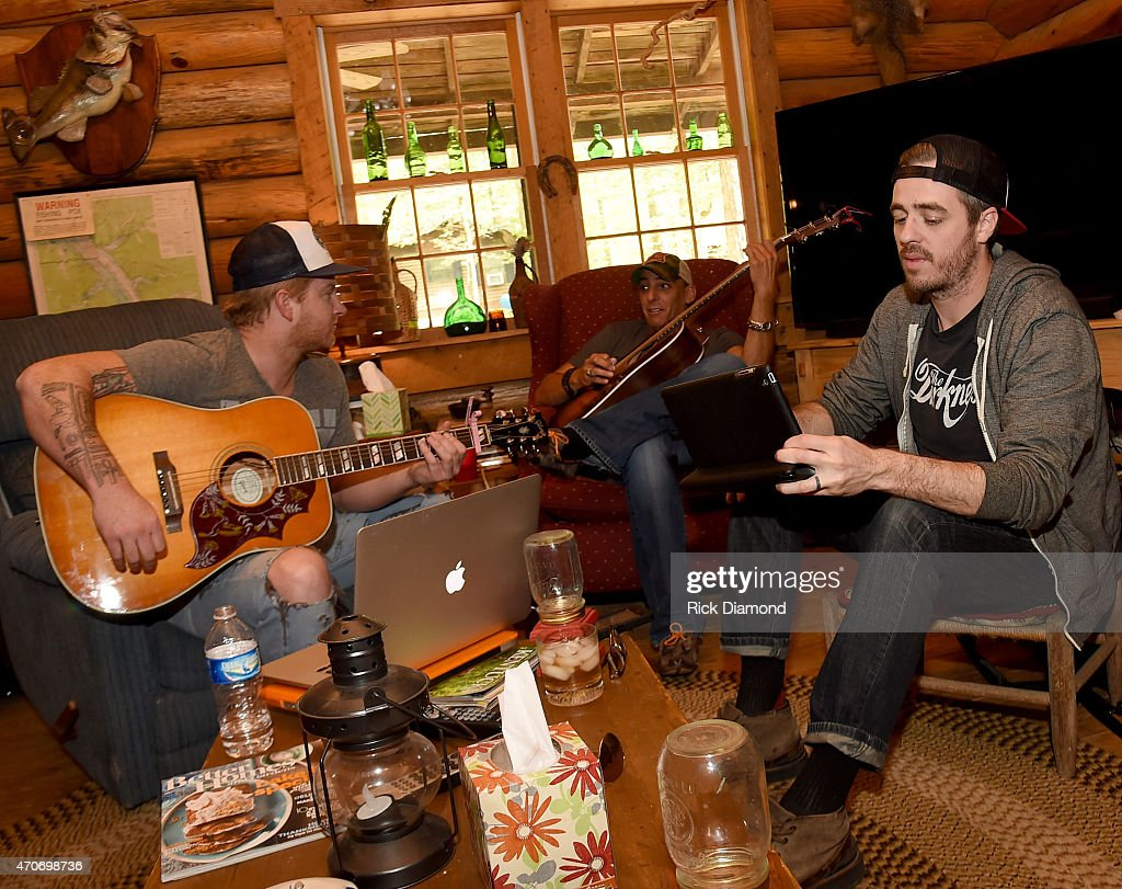 Stevie Monce Trent Tomlinson and Dave Pittenger attend Country Rock Group Love And Theft 'Cabin Fever Writing Sessions' on April 21 2015 in Dover...