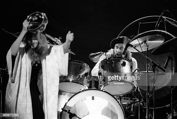 Stevie Nicks and Mick Fleetwood perform with Fleetwood Mac at the Berkeley Community Theater in February 1977 in Berkeley California