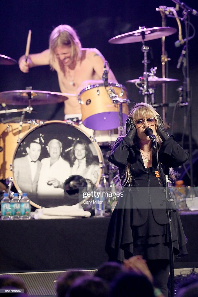 Stevie Nicks and Taylor Hawkins perform in concert at the Sound City showcase at Stubbs BBQ during the South By Southwest Music Festival on March 14, 2013 in Austin, Texas.