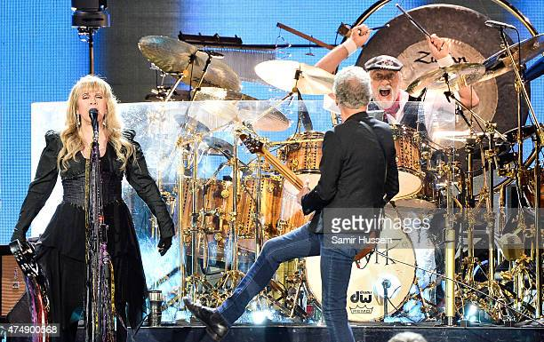 Stevie Nicks Mick Fleetwood and Lindsey Buckingham of Fleetwood Mac perform live at The O2 Arena on May 27 2015 in London England