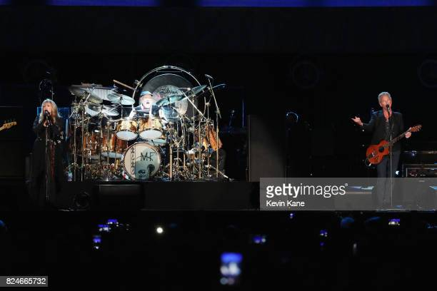 Stevie Nicks Mick Fleetwood and Lindsey Buckingham of Fleetwood Mac perform onstage during The Classic East Day 2 at Citi Field on July 30 2017 in...