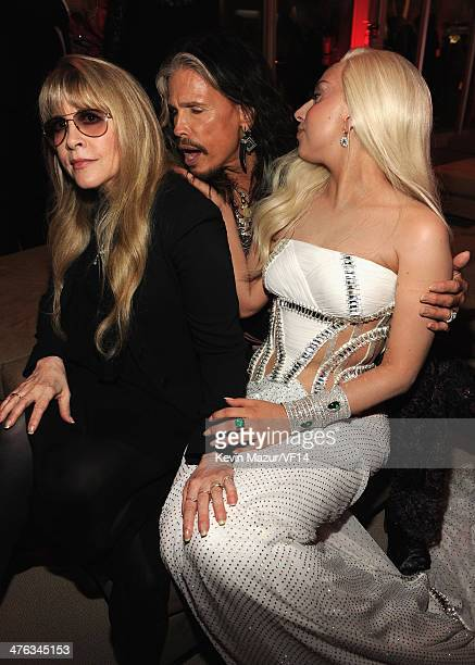 Stevie Nicks Steven Tyler and Lady Gaga attend the 2014 Vanity Fair Oscar Party Hosted By Graydon Carter on March 2 2014 in West Hollywood California