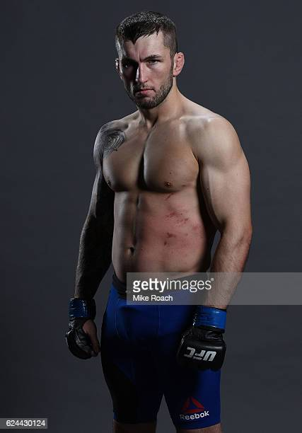 Stevie Ray of Scotland poses for a portrait backstage after his victory over Ross Pearson during the UFC Fight Night at the SSE Arena on November 19...