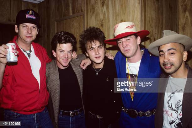Stevie Ray Vaughan and Double Trouble with Colin James backstage at the Pier in New York City on August 21 1988
