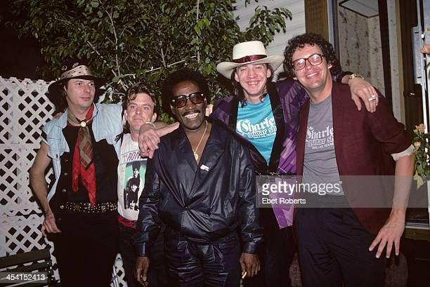 Stevie Ray Vaughan and Double Trouble with Johnny Copeland backstage at the Pier in New York City on August 10 1985