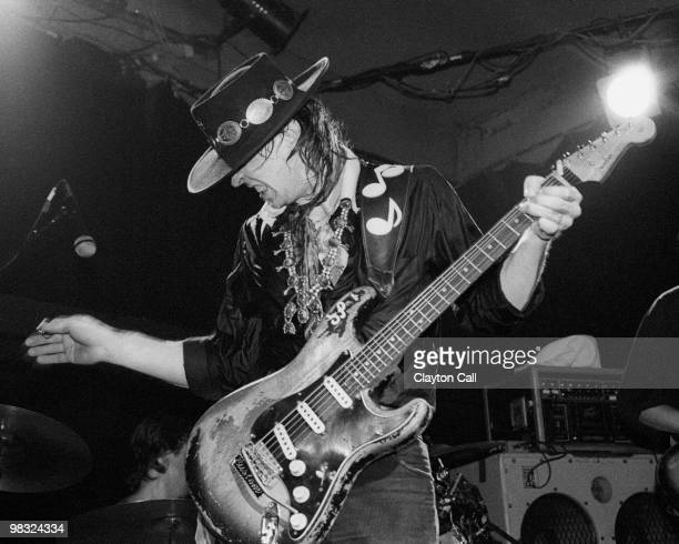 Stevie Ray Vaughan performing at the Keystone Berkeley on August 19 1983 He plays a Fender Stratocaster guitar