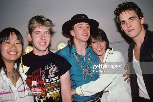 Stevie Ray Vaughan with his wife Linnie and May Pang record producer Steve Lillywhite and actor Matt Dillon backstage at First City in New York City...