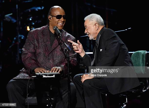 Stevie Wonder and Bill Withers perform onstage during the 30th Annual Rock And Roll Hall Of Fame Induction Ceremony at Public Hall on April 18 2015...