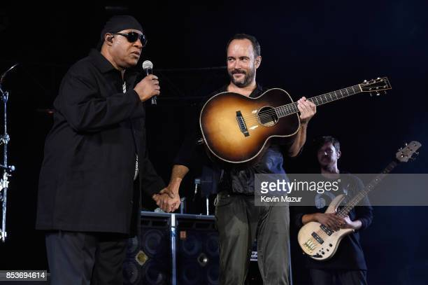 Stevie Wonder and Dave Matthews perform at 'A Concert for Charlottesville' at University of Virginia's Scott Stadium on September 24 2017 in...