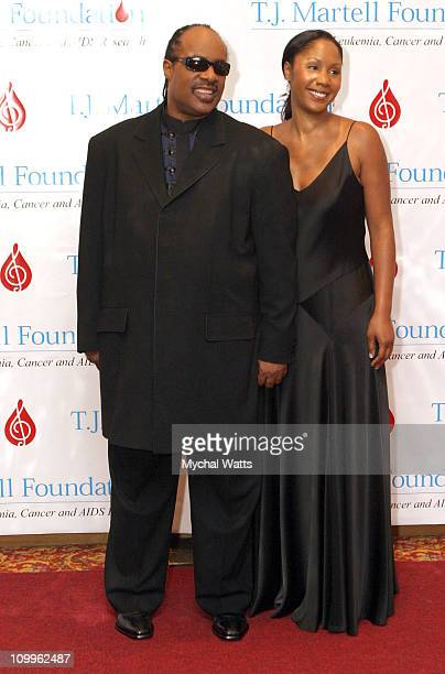 Stevie Wonder and his Daughter Aisha Morris during 29th Annual TJ Martell Foundation Award Gala at The Hilton Hotel in New York City New York United...