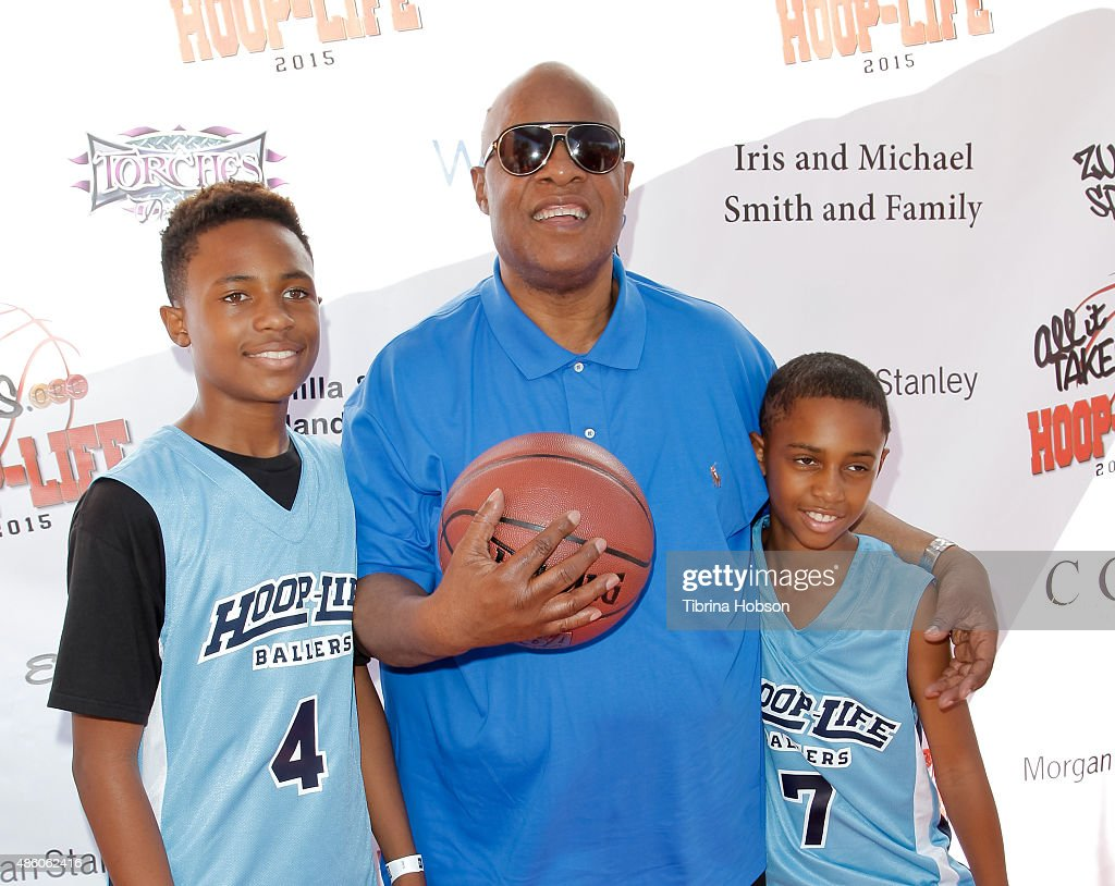 Stevie Wonder and his sons Kailand Morris and Mandla Morris attend the 3rd annual HoopLife FriendRaiser at Galen Center on August 30 2015 in Los...