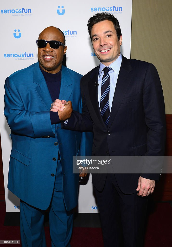 Stevie Wonder and Jimmy Fallon attend SeriousFun Children's Network event honoring Liz Robbins with celebrity guests at Pier Sixty at Chelsea Piers on April 4, 2013 in New York City.