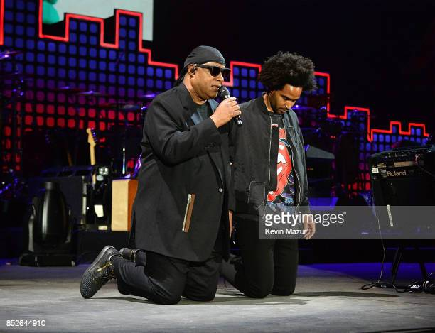 Stevie Wonder and Kwame Morris perform onstage during the 2017 Global Citizen Festival For Freedom For Justice For All in Central Park on September...
