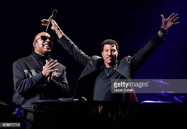Stevie Wonder and Lionel Richie perform at Stevie's 20th Annual House Full of Toys Benefit Concert at Microsoft Theater on December 9 2016 in Los...