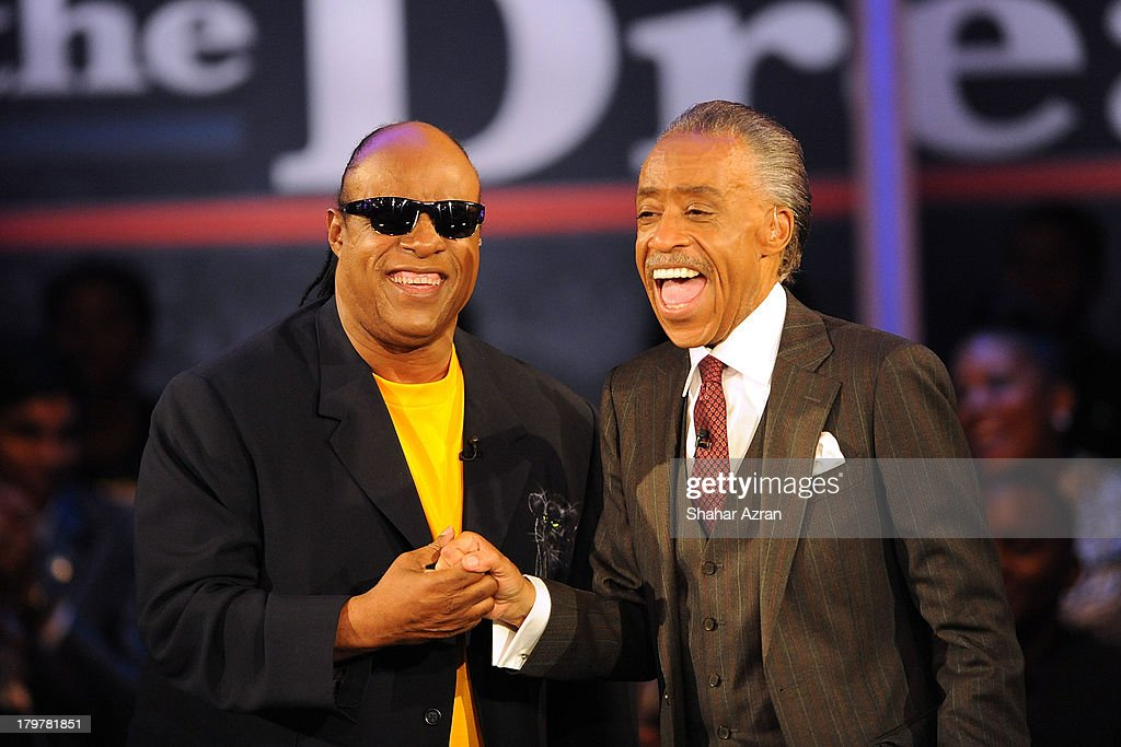 Stevie Wonder and Reverend Al Sharpton attend 'Advancing The Dream: Live From The Apollo' Hosted By Reverend Al Sharpton at The Apollo Theater on September 6, 2013 in New York City.
