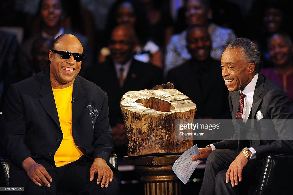<a gi-track='captionPersonalityLinkClicked' href=/galleries/search?phrase=Stevie+Wonder&family=editorial&specificpeople=171911 ng-click='$event.stopPropagation()'>Stevie Wonder</a> and Reverend <a gi-track='captionPersonalityLinkClicked' href=/galleries/search?phrase=Al+Sharpton&family=editorial&specificpeople=202250 ng-click='$event.stopPropagation()'>Al Sharpton</a> attend 'Advancing The Dream: Live From The Apollo' Hosted By Reverend <a gi-track='captionPersonalityLinkClicked' href=/galleries/search?phrase=Al+Sharpton&family=editorial&specificpeople=202250 ng-click='$event.stopPropagation()'>Al Sharpton</a> at The Apollo Theater on September 6, 2013 in New York City.