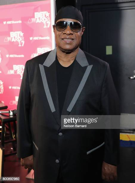 Stevie Wonder backstage at the 2017 BET Awards at Microsoft Theater on June 25 2017 in Los Angeles California