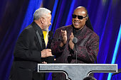 Stevie Wonder inducts Bill Withers onstage during the 30th Annual Rock And Roll Hall Of Fame Induction Ceremony at Public Hall on April 18 2015 in...